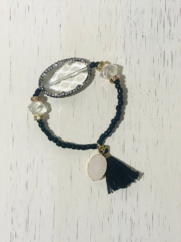 Black Tassel Beaded Bracelet