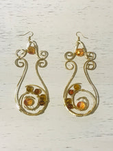 Spiral Hammered Wire Drop Earrings