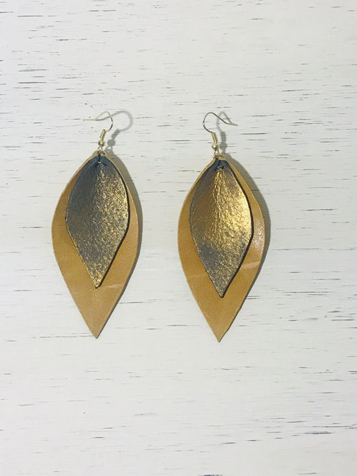 Gold Leather Dangle Earrings