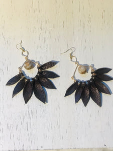 Brown Leather Leaf Semi-Hoop Earring