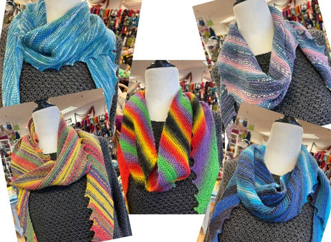 Collage of five photos, each depicting a Hitchhiker shawl knitted in five different yarns