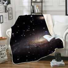 Starry Galaxy Universe Brown Sherpa Blanket Spread on a Sofa Couch in a Living Room