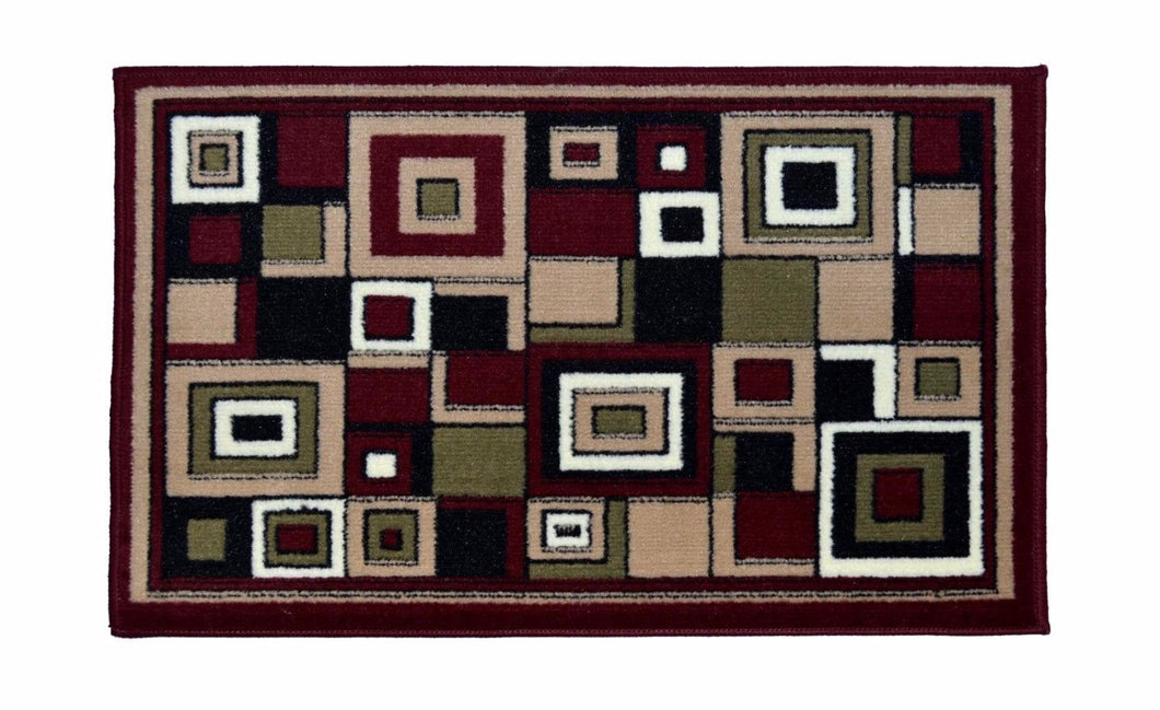 Geometric Thin Door Mat Entry Rug - Square Party - The White Rose USA