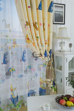 Installation Looks of Disney Pooh and Tiger Yellow Tulle Window Curtains for Kids Room