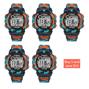 Image showing 5 pack HONHX digital sports watch in Orange color with potential savings