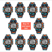 Image showing 10 pack HONHX digital sports watch in Orange color with potential savings