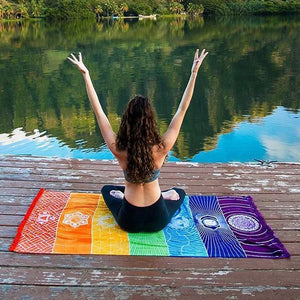 Hot Rainbow Beach Mat | Wall Hanging | Tapestry Stripe | Yoga Sheet