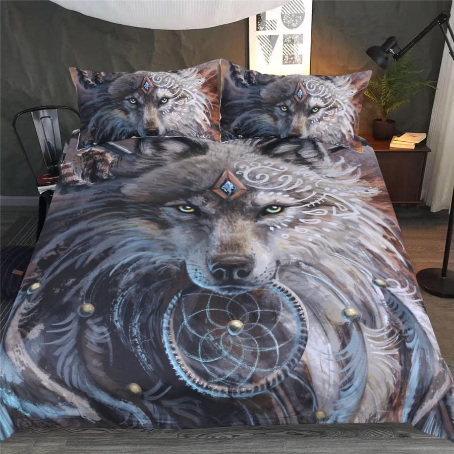 Fusion of Dreamcatcher Feather with Wolf Warrior by SunimaArt Duvet Cover with Pillow Cases