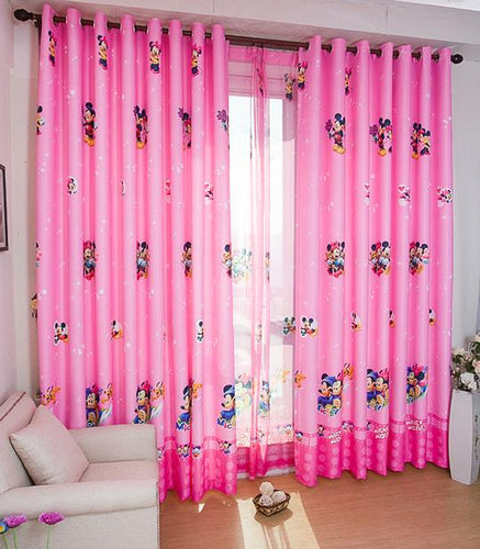 Disney Pink Minnie Mouse Curtain - shown over a window with a Minnie Mouse tulle backing