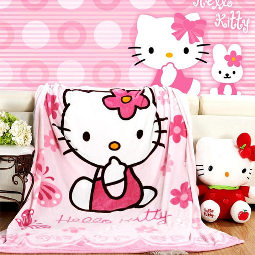 Hello Kitty Plush Flannel Blanket for Kids - Twin