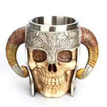 Front view of Stainless Steel 3D Skull Coffee Drinking Cup