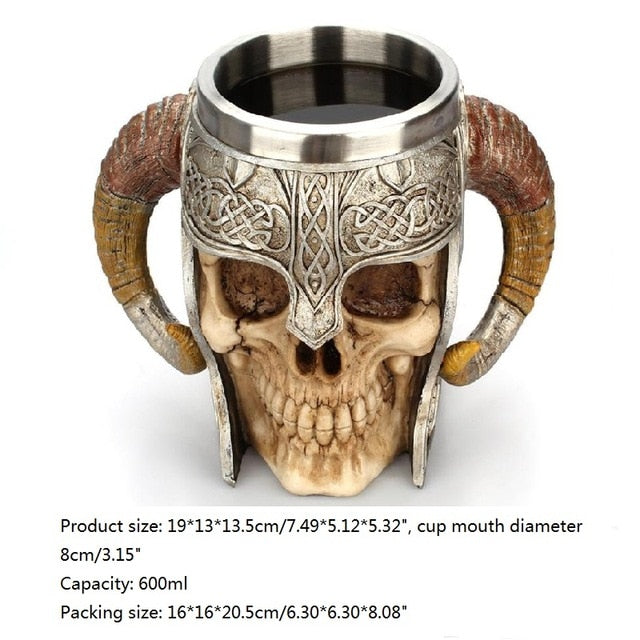 top view of Stainless Steel 3D Skull Coffee Drinking Cup and dimensions