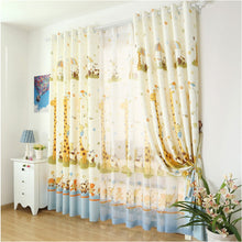 Yellow Giraffe Cartoon Curtain for Kids' Bedroom - Thick Semi-Blackout curtains shown on a bedroom window with 2 thick panels and 2 Tulle Panels.