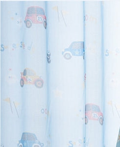 Blue Kids Blackout Sheer with Cartoon Car Prints close up.