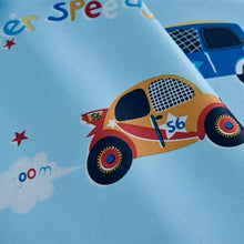 Close up view showing the Blue Kids Thick Blackout Curtain Car Print.