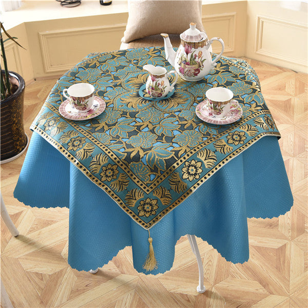 Luxury Floral Round Table Cloth with Embroidery - 2 Pc Set