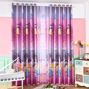 Pink Purple Disney Princess Window Curtains for Kids Room