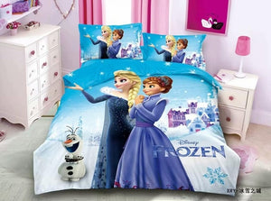 Frozen sisters Ana Elsa and Olaf on Outdoor White Scenery