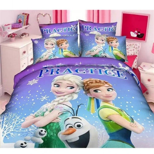 Frozen sisters Ana Elsa and Olaf on Blue and Purple Scenery