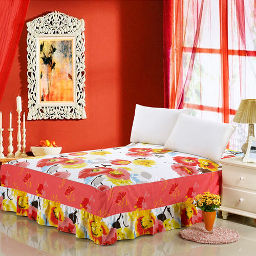 Premium Pastoral Floral Bed Cover with Ruffled Bed Skirt and Pillowcases