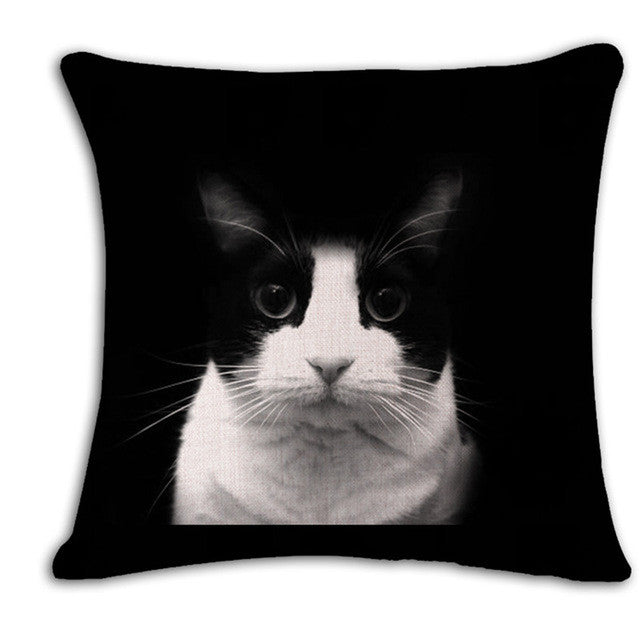 square printed linen cushion cover colorful cartoon cats