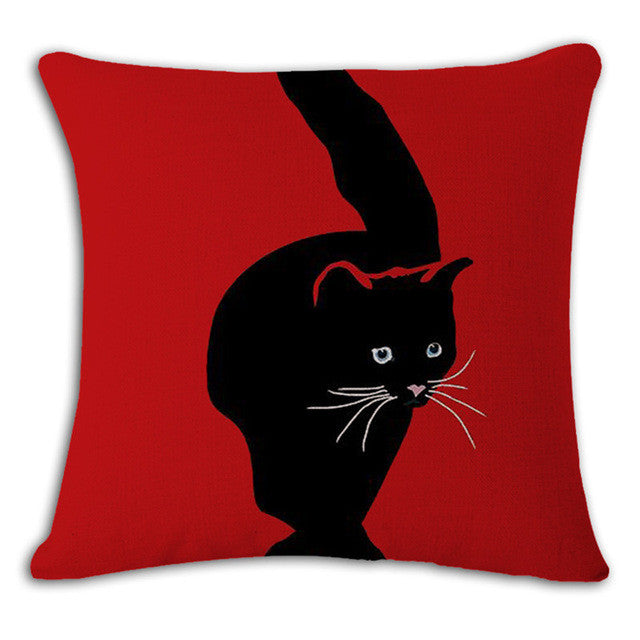 Square Printed Linen Cushion Cover Colorful Cartoon Cats ...