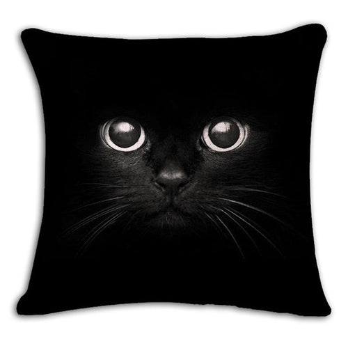 Square Printed Linen Cushion Cover Colorful Cartoon Cats Decorative 18'' X 18
