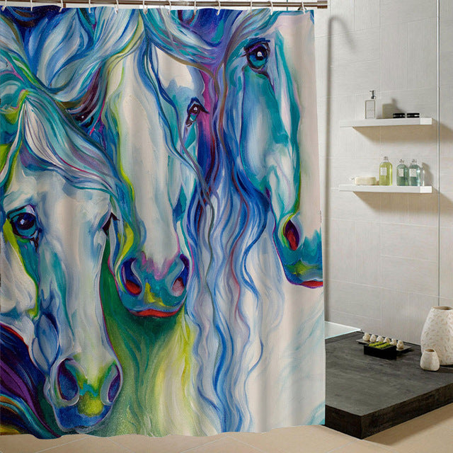 ... Horse Themed Waterproof Shower Curtains With 12 Plastic Hooks   The  White Rose USA ...
