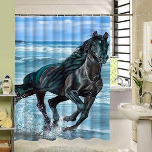 Horse Themed Waterproof Shower Curtains with 12 Plastic Hooks - The White Rose USA
