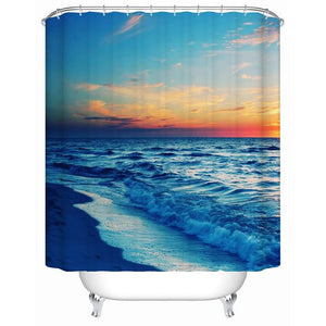 Beautiful Shower Tub Curtains with Ocean View - The White Rose USA