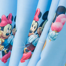 Pattern Print Close up showing Blue Mickey Mouse Curtain