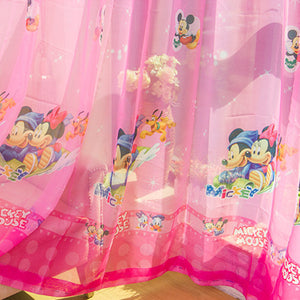 Close Up View of Pink Minnie Mouse Tulle Curtain