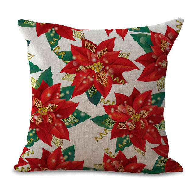 Christmas Pillow Cases and Cushion Covers - Red Green Flowers