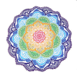 Round Blue Green Yellow Lotus Beach Picnic Mat | Wall Hanging | Tapestry