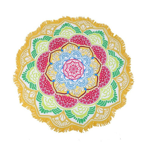 Yellow Green Lotus Beach Shawl | Beach Mat