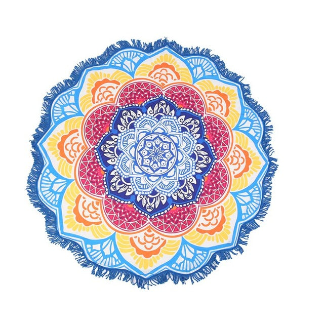 Blue Yellow Lotus Beach Shawl | Beach Mat