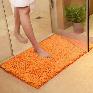 Soft Microfiber Shaggy Orange Bathroom Rug