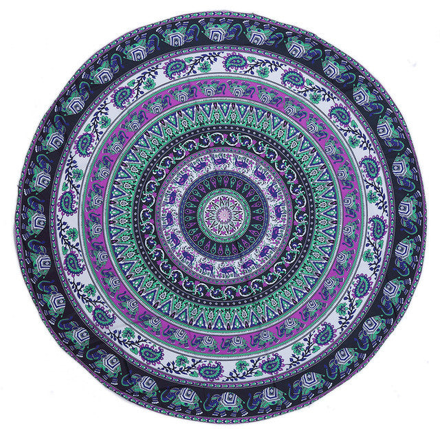 Trendy Large Blue Round Towels for beach, bath, swimming - The White Rose USA