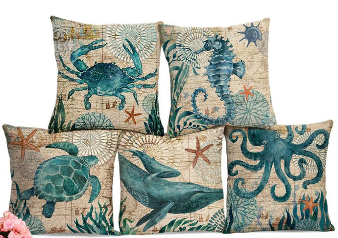 Ocean Creatures Printed Cotton Linen Cushion Cover Pillowcase - 5 styles - 45cm x 45cm - (18