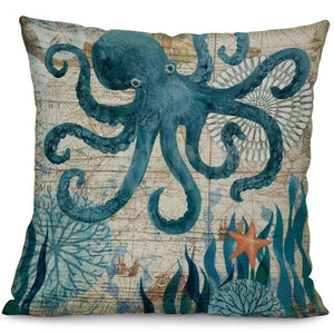 Printed Cotton Linen Square Cushion Cover Pillowcase - Octopus Design