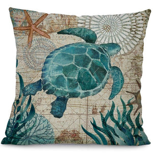 Printed Cotton Linen Square Cushion Cover Pillowcase - Tortoise Design