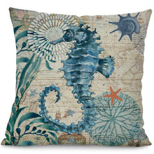 Printed Cotton Linen Square Cushion Cover Pillowcase - Seahorse Design