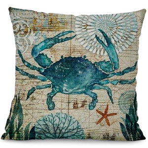 Printed Cotton Linen Square Cushion Cover Pillowcase - Crab Design