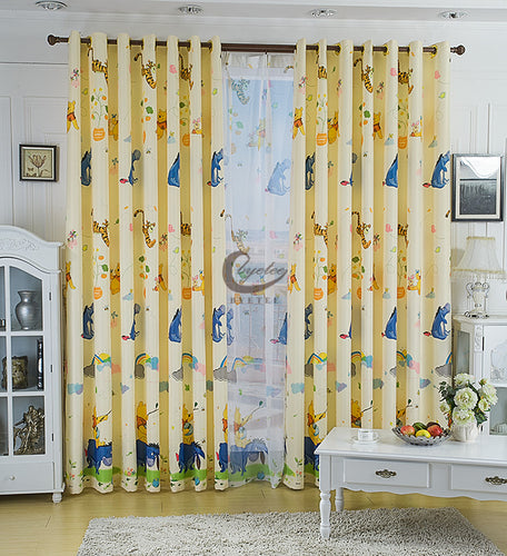 Disney Pooh and Tiger Yellow Thick Window Curtain for Kids Boys Girls Room