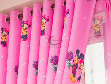Close up view of top of the Pink Minnie Mouse Curtain