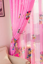 Close Up Side View of Pink Minnie Mouse Tulle Curtain
