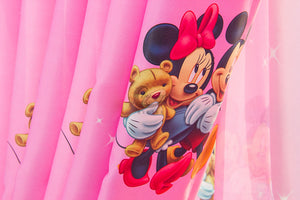 Another close up view of side of the Pink Minnie Mouse Curtain