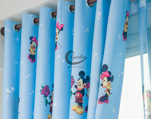 Close up of the top of the Blue Mickey Mouse Curtain - shown variant with Rings Top