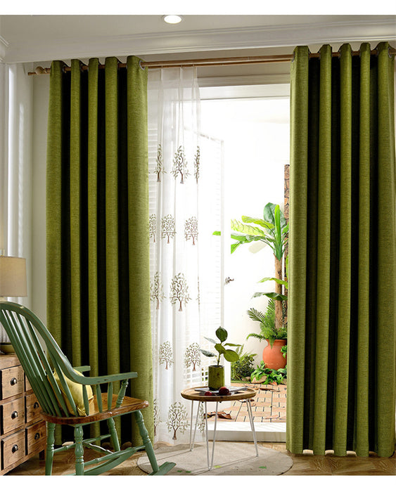 Modern Green Faux Tulle, Cotton Curtains and Drapes