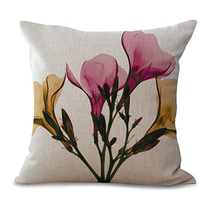 "Square 18"" Cotton Linen Watercolor Flowers Printed Cushion Covers"